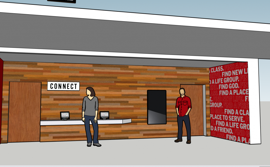 3D rendering of the connection center at Ginghamsburg church